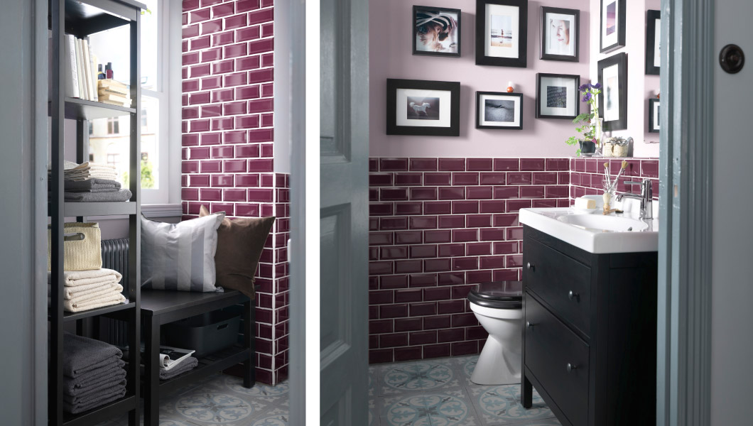 bathroom with colorful tiles