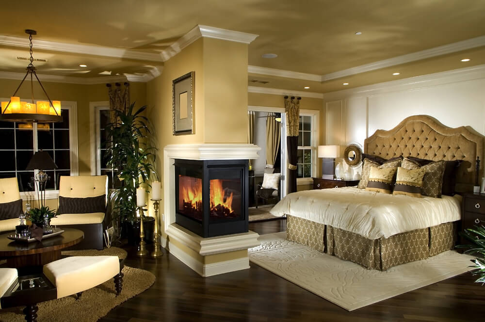 Beautiful bedroom with fireplace and sitting room