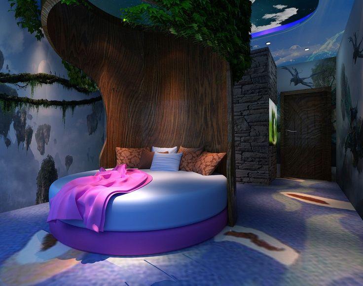Creative bedroom round tree bed