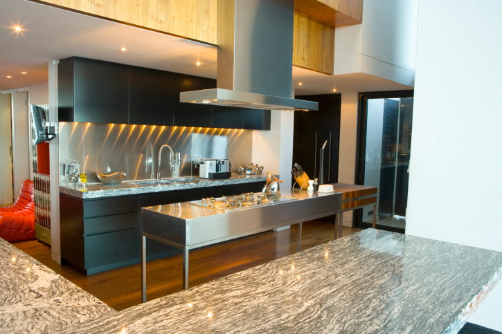 Modern kitchen with stainless steel island