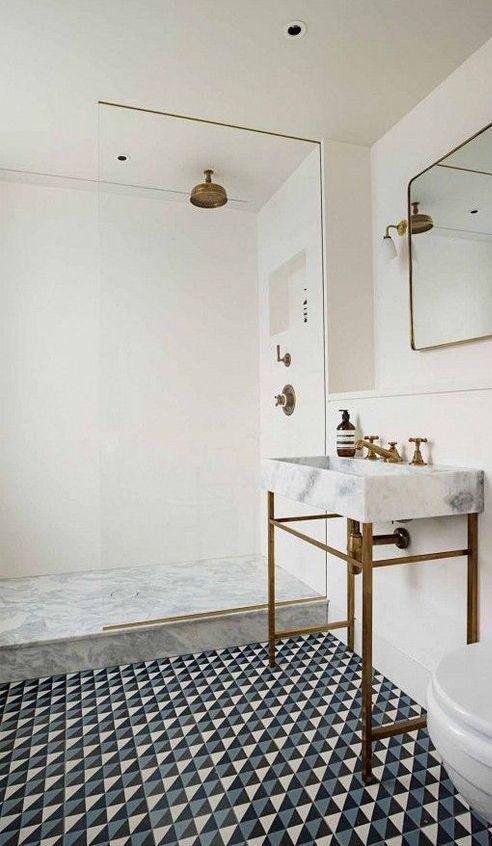beautiful tiles and sink in bathroom