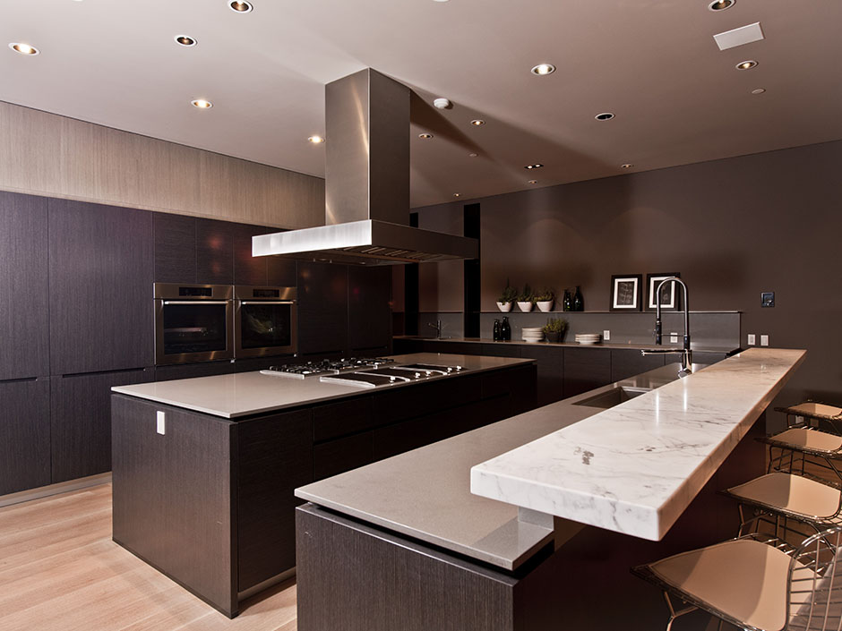 modern kitchen interiors with dark brown furniture