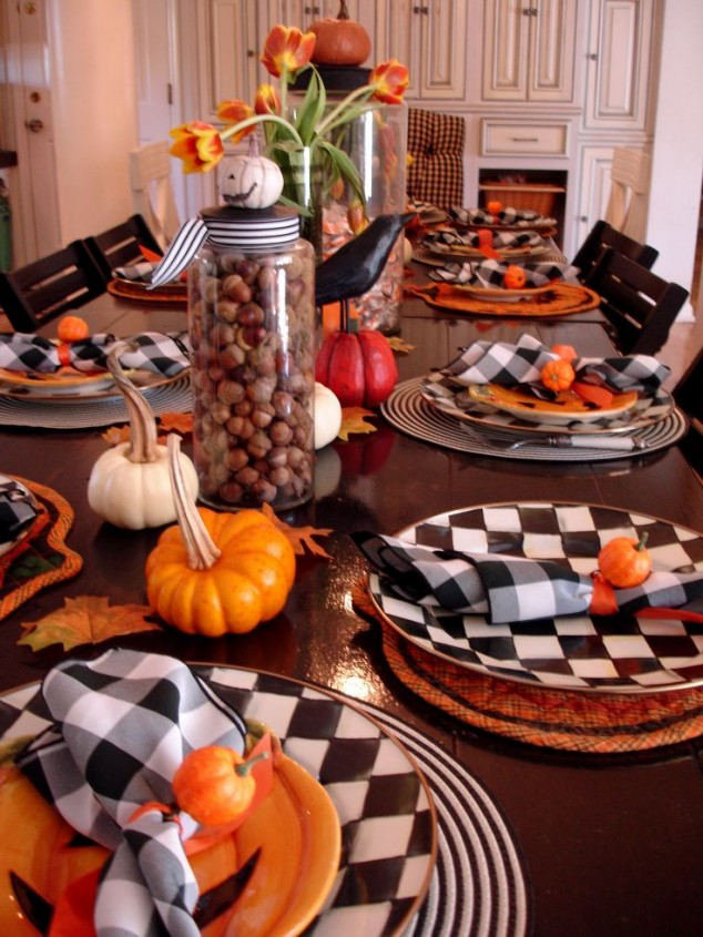 Halloween Table Setting With Pumpkin