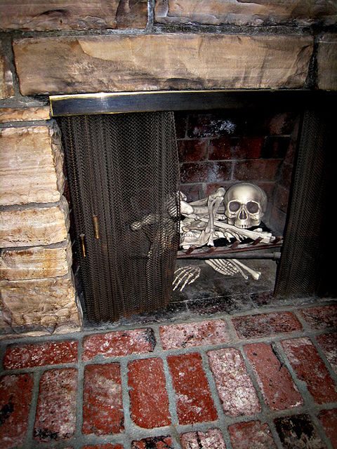 Skeleton Bones in Fireplace