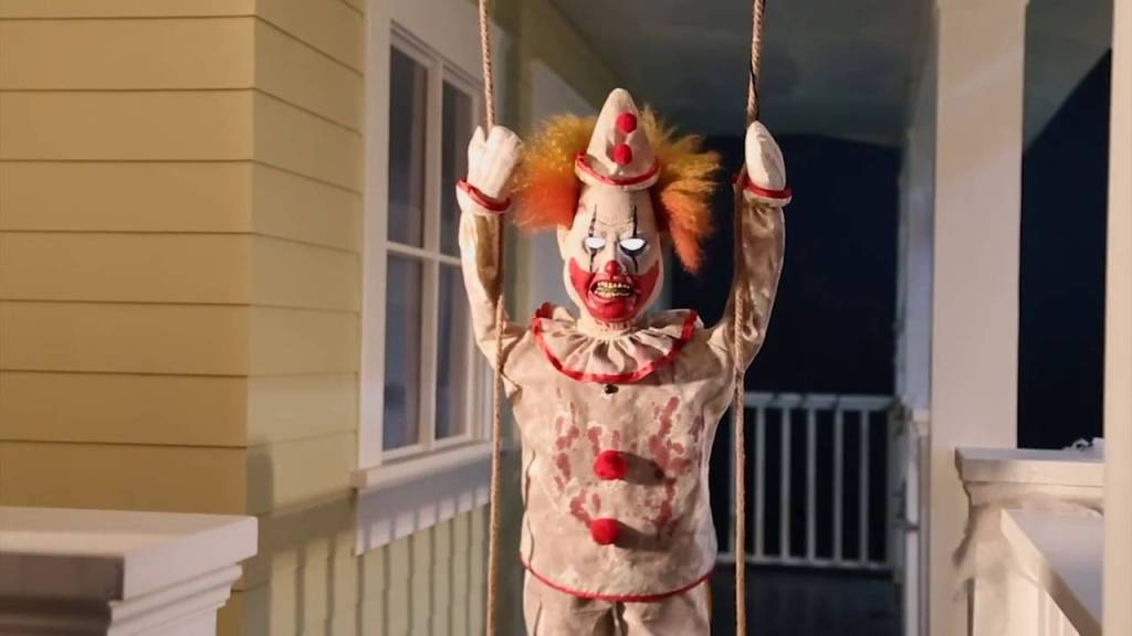 Swinging Happy Clown Doll Animated Prop