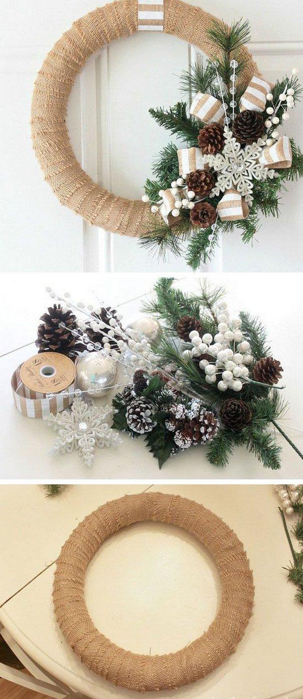homemade-burlap-christmas-wreath