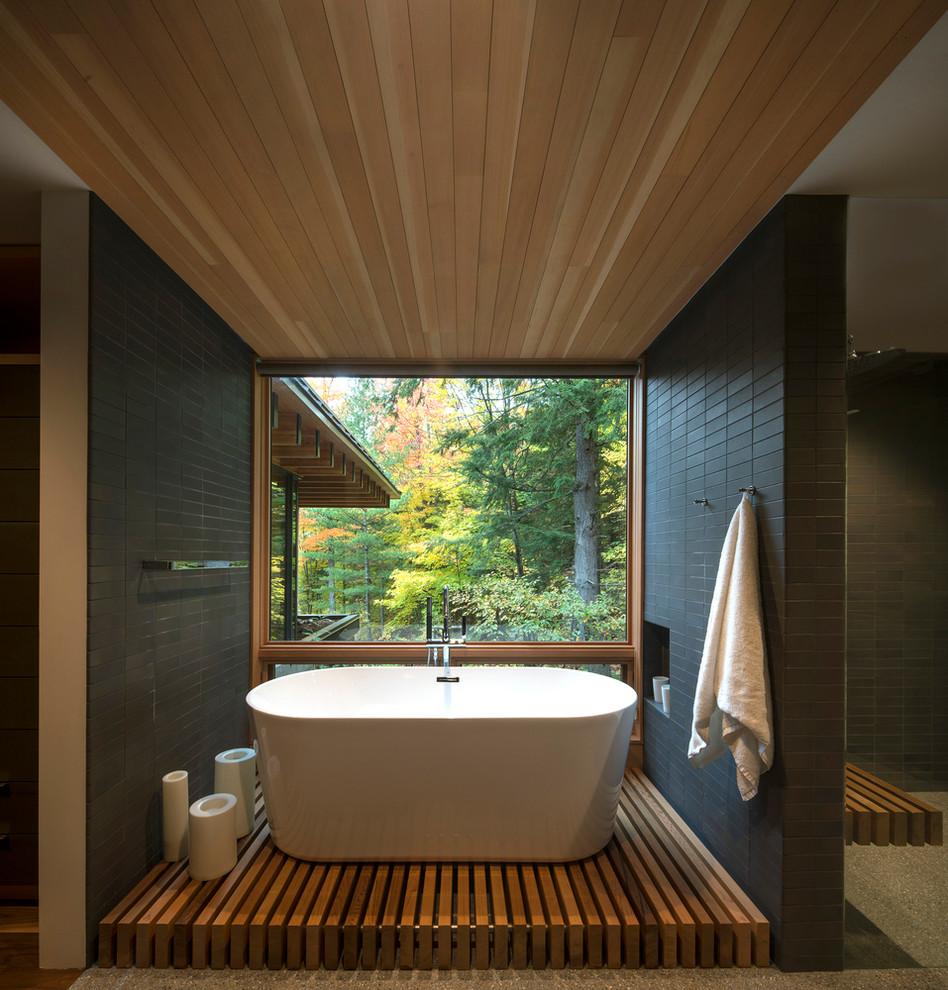 Contemporary Bathroom With Hardwood Floors
