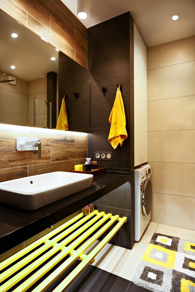 Open Cabinet Contemporary Bathroom