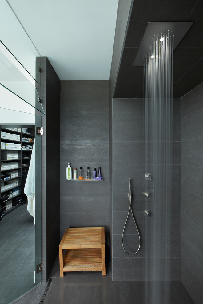 Modern Bathroom Design With Gray Tile