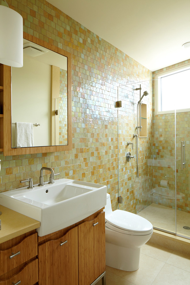 Modern Bathroom Design With Multicolored Tile