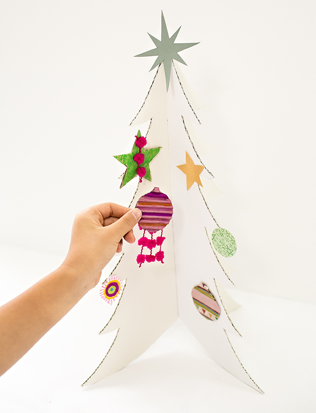 Colorful Cardboard Christmas Trees And DIY Ornaments
