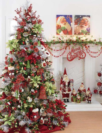 Red and Green Decorated Christmas Trees