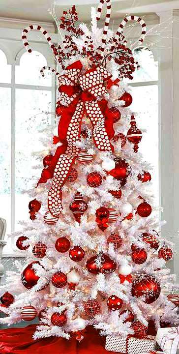 Red and White Christmas Trees