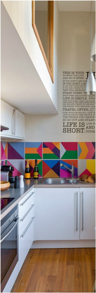 Bright Narrow Space Kitchen