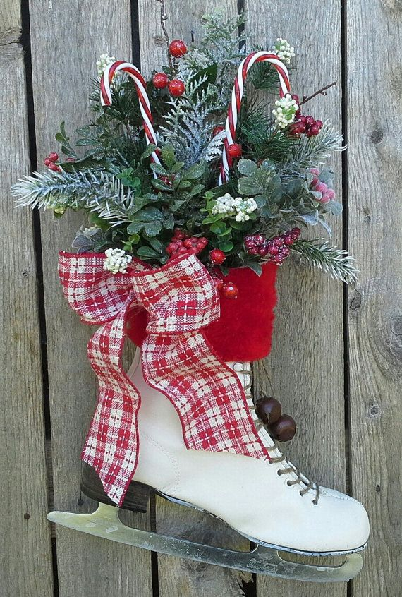 Ice Skates as Christmas Door Decoration