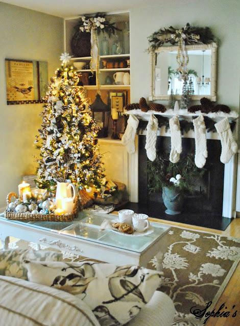 Christmas Fireplace Living Room Decor