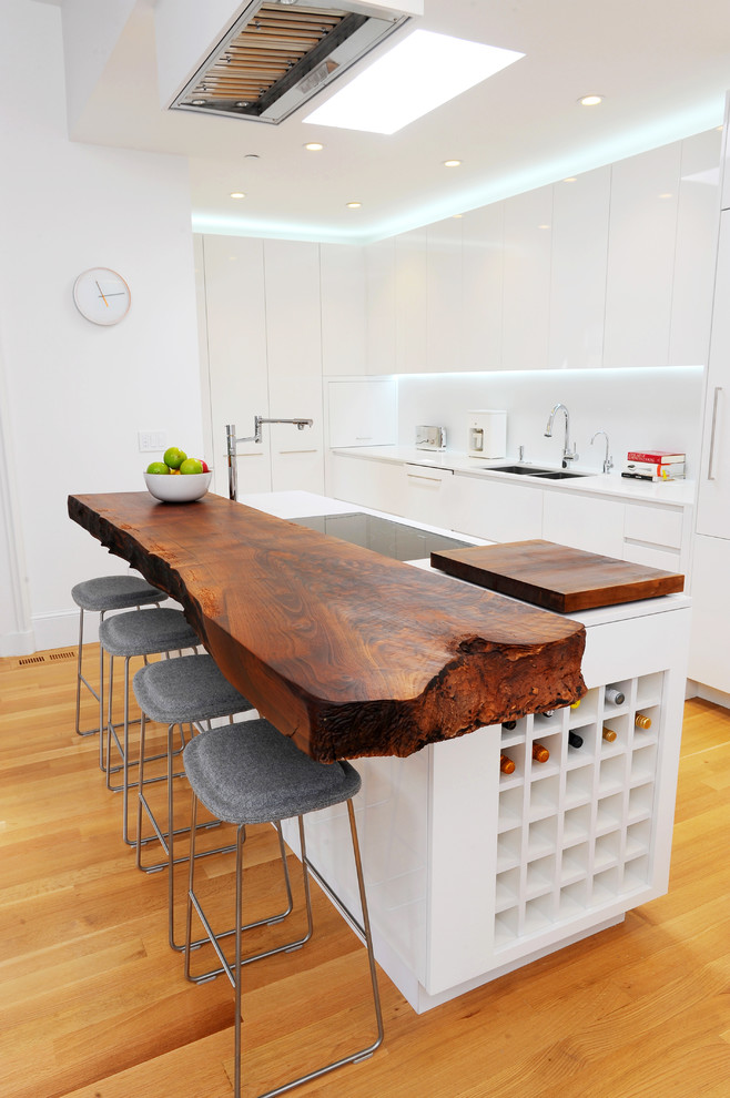 All White Eclectic Kitchen With Wood Slab Kitchen Bar