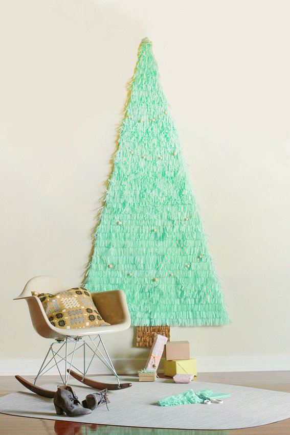 DIY Christmas Tree Made Out Of Tissue Paper THewowdecor