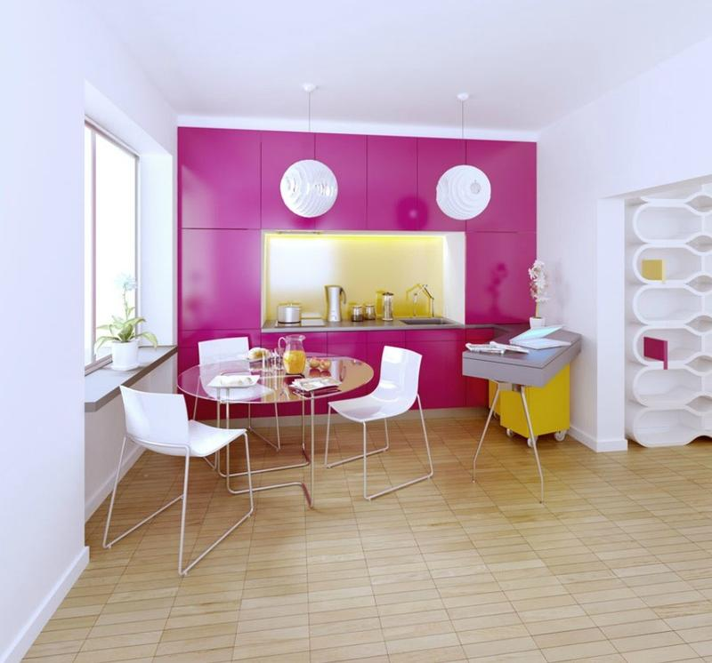 Pink and Yellow Kitchen