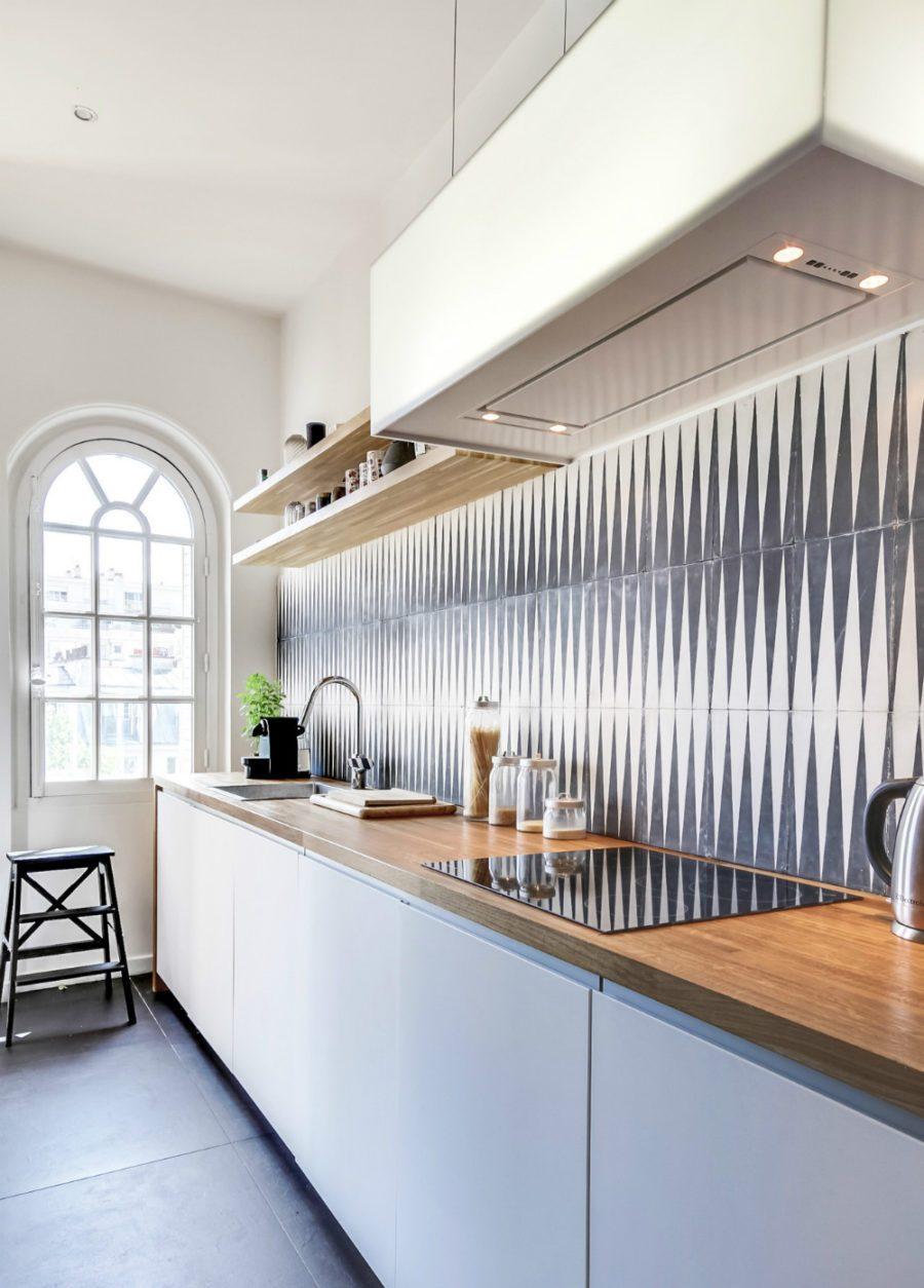 Unique Kitchen With Graphic Backsplash