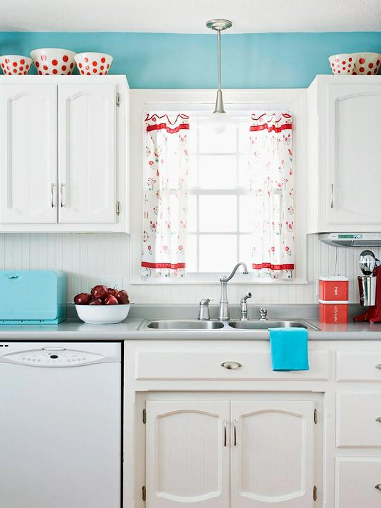 White and Blue Country Kitchen