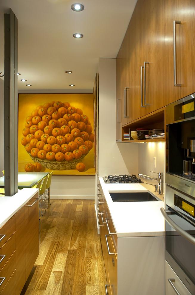 Wood Toned Minimalist Galley Kitchen