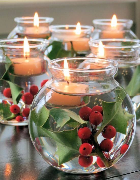 DIY Christmas Centerpiece with Candles