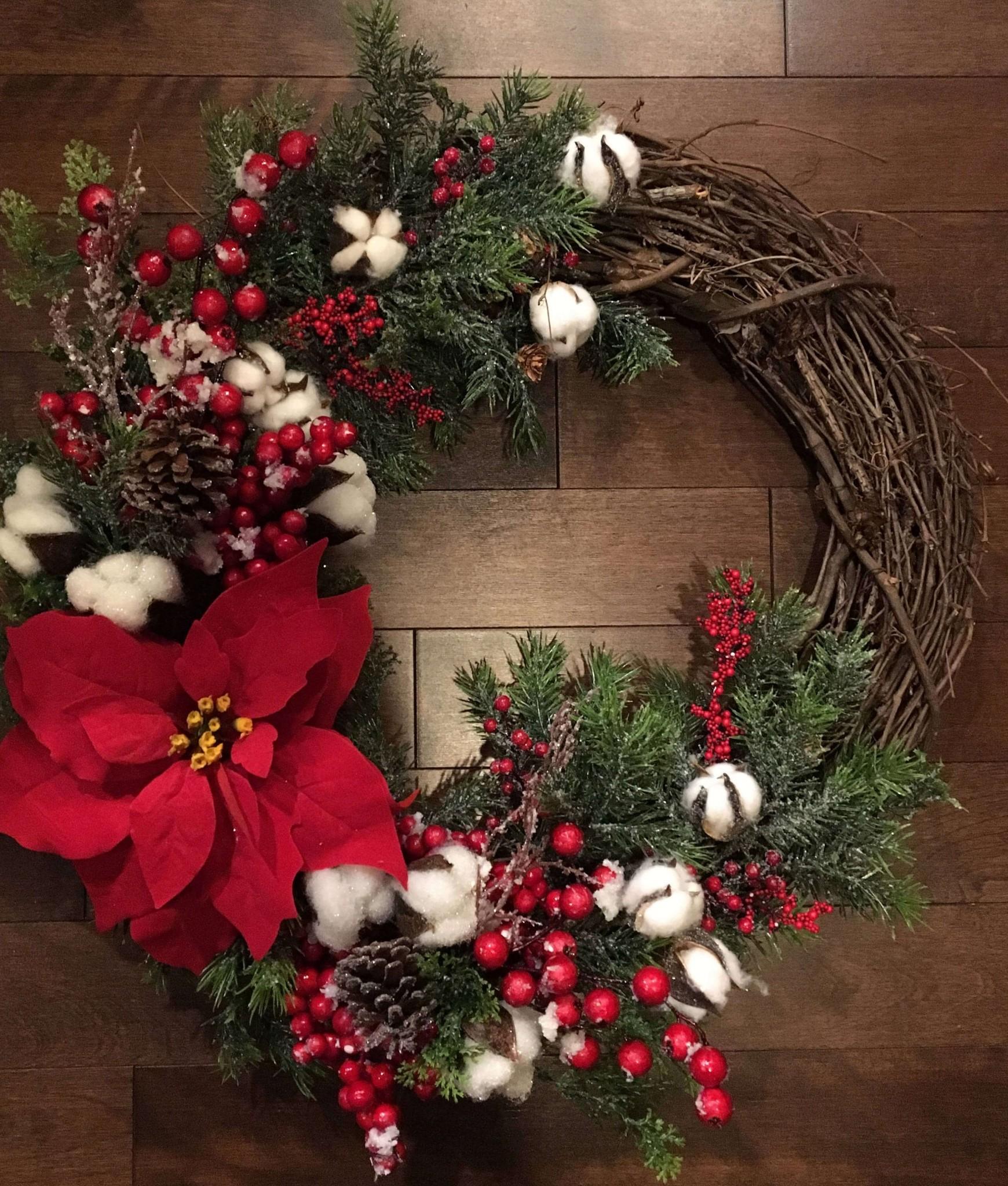 Rustic Grapevine and Raw Cotton Wreath thewowdecor
