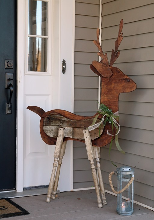 Wood Outdoor Reindeer Christmas Decorations