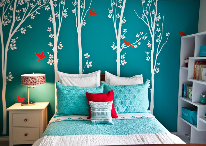 Bedroom With Bright colored Wallpaper Thewowdecor