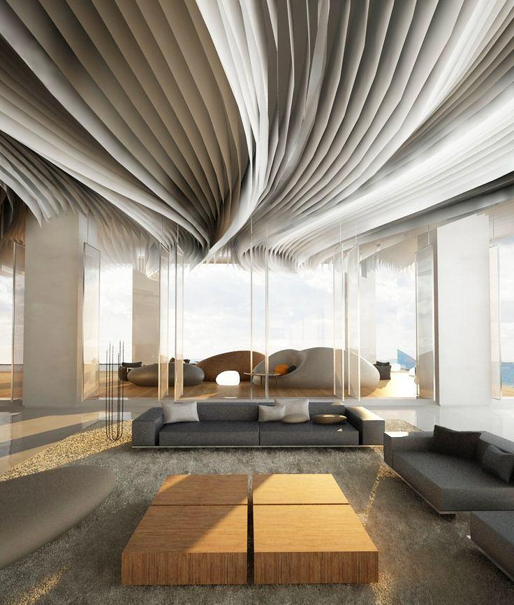 Fabric Stripes Decorated Ceiling Thewowdecor