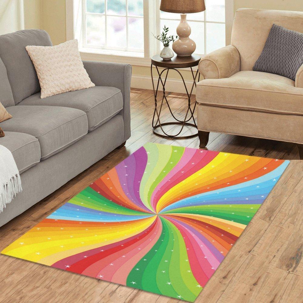 Abstract Rainbow Stripe with Star Art Rug Thewowdecor