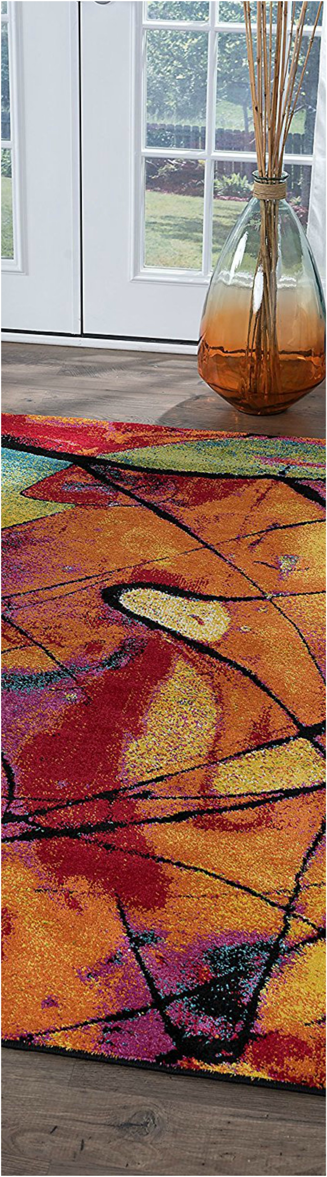Contemporary Abstract Multi-Color Rectangle Rug Thewowdecor