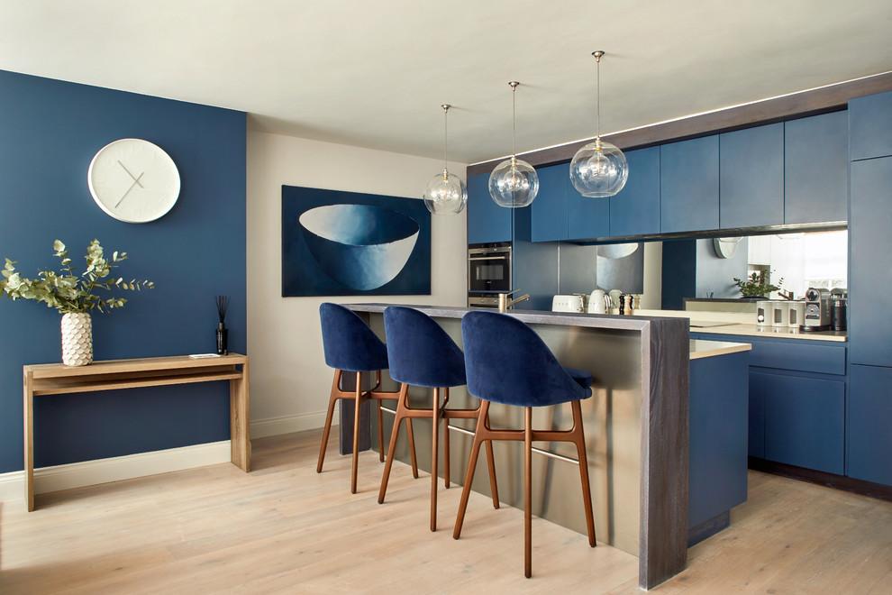 Contemporary Blue Paint Kitchen Cabinets Thewowdecor