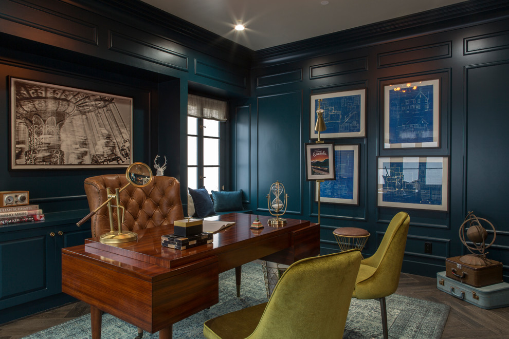 Eclectic Style Office With Tufted Bose Chair & Classic Furniture Thewowdecor