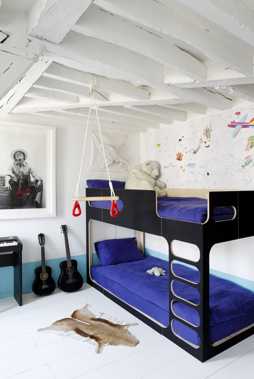 Modern Black Bunk Bed With Bold Purple Bedding Thewowdecor