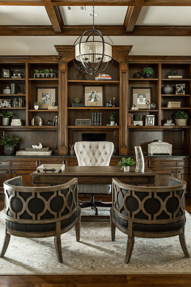 Traditional Home Office With Wooden Floor & Carpet Thewowdecor
