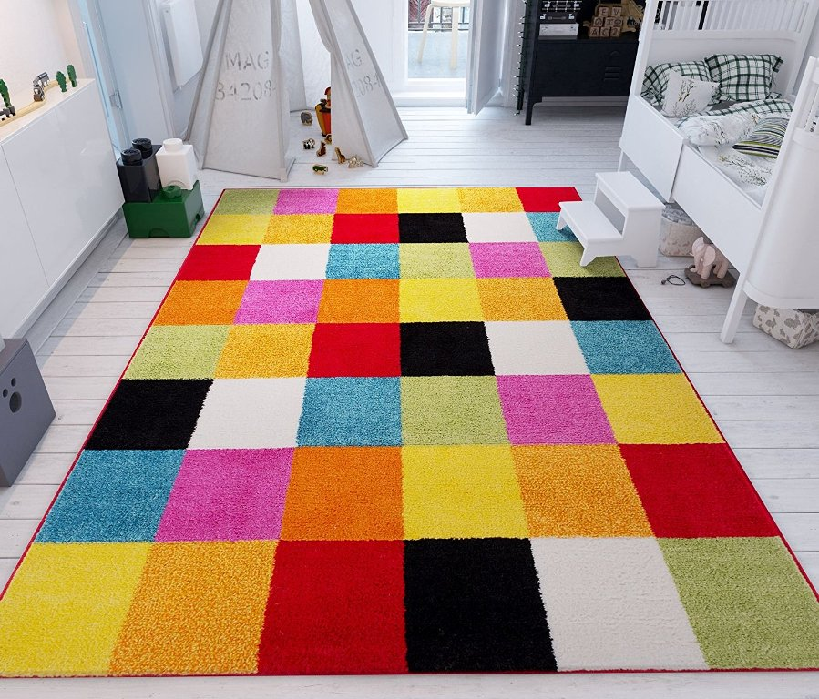 Woven Squares Soft Multi Geometric Accent Rug Thewowdecor
