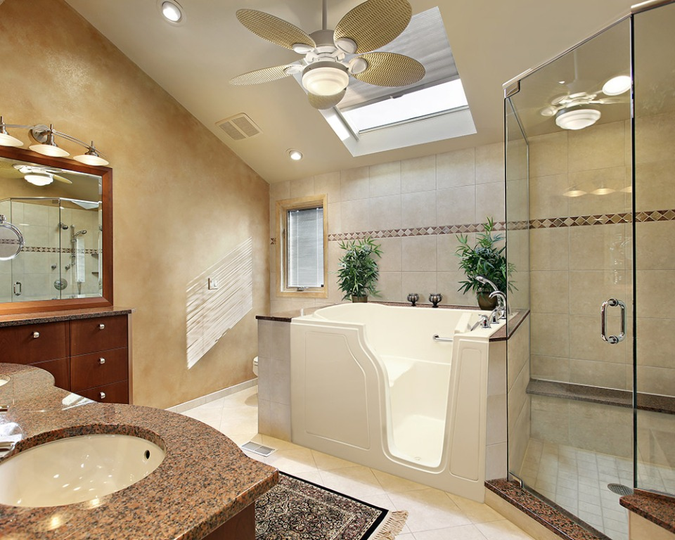 Modern Master Bath With Skylight