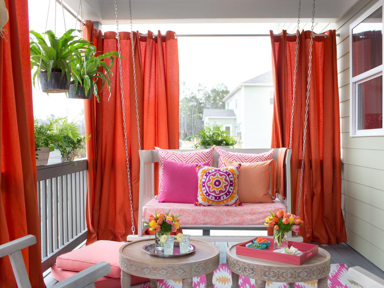 Install outdoor curtains