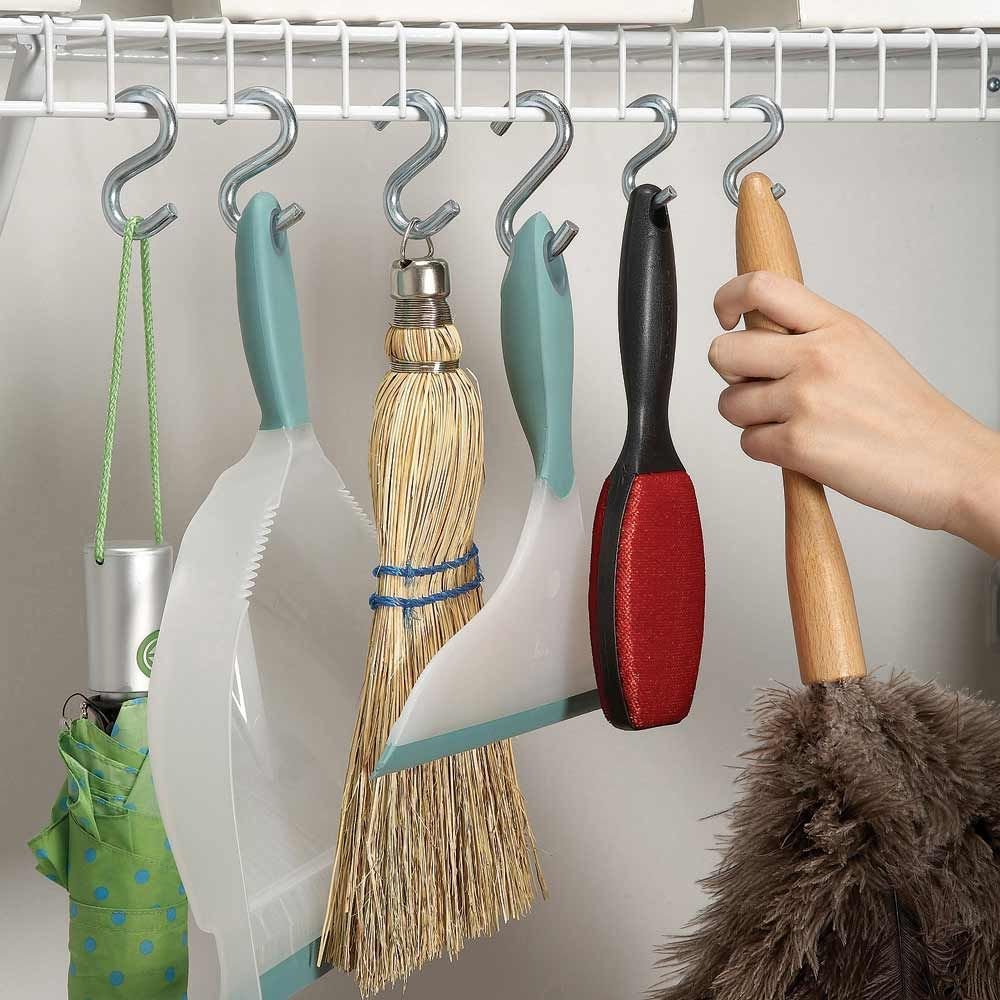 Use S-Hooks to Store Brooms, Brushes, and Mops