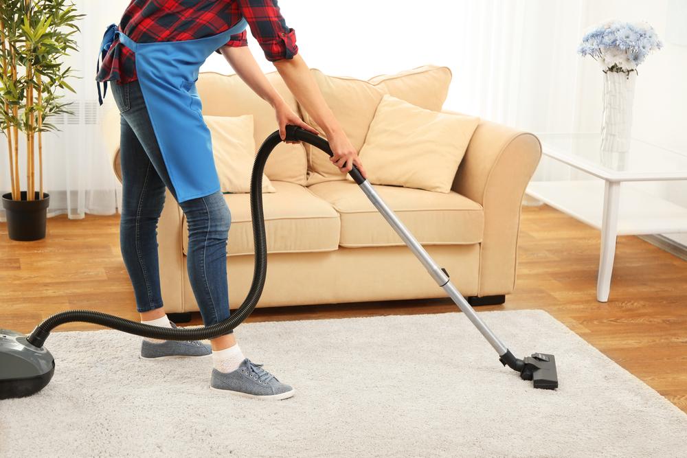 Cleaner hoovering carpet in room