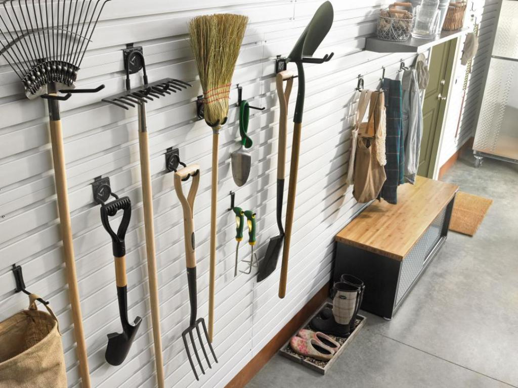 Shelf Brackets with Hooks for Hanging Tools