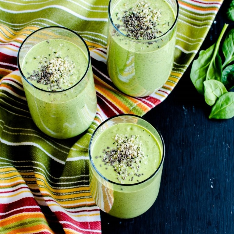 All green smoothie with bonus Chia seeds